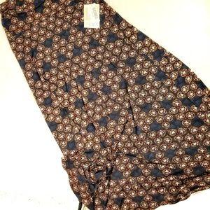 Lu LaRoe maxi skirt,navy/gold pattern